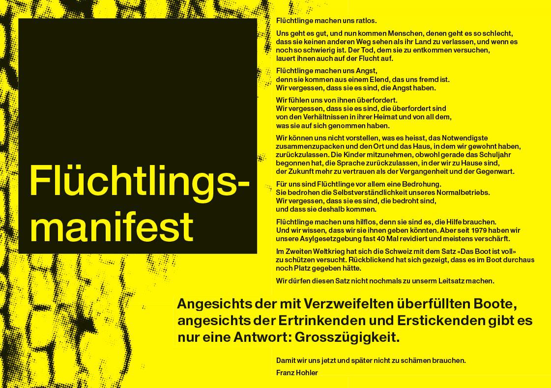 Arbeiten Referenzen SP Kanton Zürich Flüchtlingsmanifest